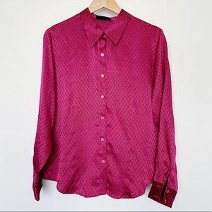 Karen Scott Purple Fuschia Satin Button Down Shirt